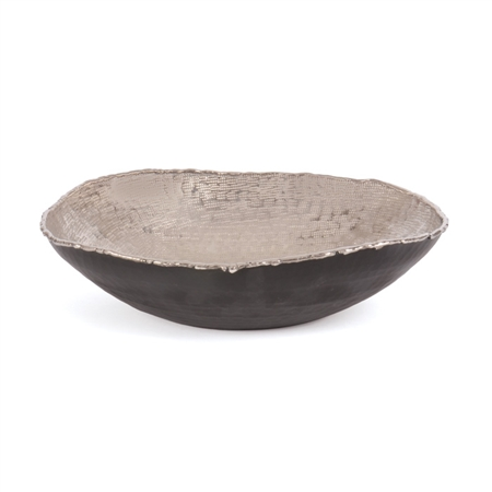 Pictured here is the Vintage Nickel entertainment bowl with hammered texture.