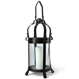 Pictured here is our decorative Blair Lantern. The mid-evil inspired design features a sleek cylinder body with decorative top and base. Measures 11.25 inches in diameter and stands 22 inches high.