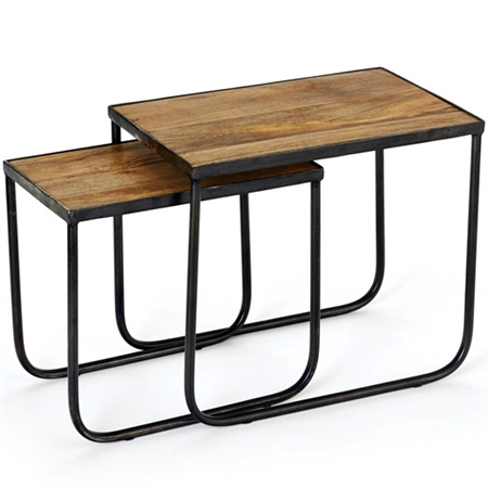 Pictured here is a set of two Ipswich nesting tables, which features an iron table base, natural wood table top, and contemporary design.