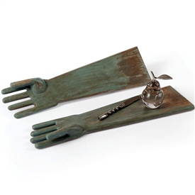 Pictured here is a Pair of Serving Hands. The flat construction of the forearm to the finger tips makes this pair a functional serving platter. Made from wood with an antique turquoise finish.