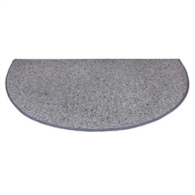 Pictured is the 36 inch x 72 inch Ember Half Round Grey Fire Resistant Rug manufactured in America by Goods of the Woods