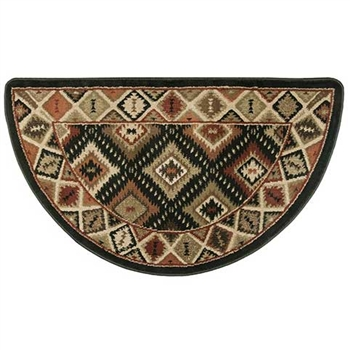 Pictured is the 25 inch x 42 inch Southwest Design Fireplace Rug manufactured in America by Goods of the Woods