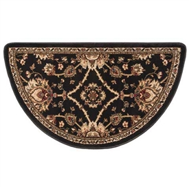 Pictured is the 25 inch x 42 inch Half Round Black Regal Rug manufactured in America by Goods of the Woods