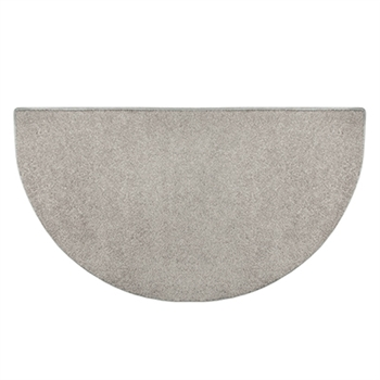 Pictured is the 27 inch x 48 inch Half Round Grey Polyester Flame Hearth Rug manufactured in America by Goods of the Woods.