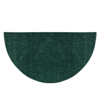 Pictured is the 36 inch x 72 inch Green Polyester Canyon Hearth Rug manufactured in America by Goods of the Woods.