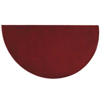 Pictured is the 36 inch x 72 inch Half Round Crimson Polyester Canyon Hearth Rug manufactured in America by Goods of the Woods.