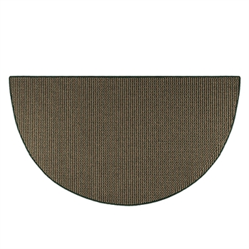 Pictured is the 27 inch x 48 inch Green Half Round Cozy Hearth Rug manufactured in America by Goods of the Woods.
