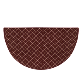 Pictured is the 27 inch x 48 inch Burgundy Half Round Trellis Hearth Rug manufactured in America by Goods of the Woods.