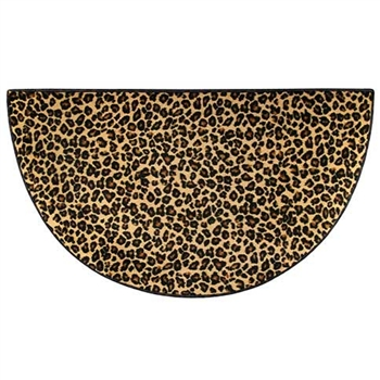 Pictured is the 27 inch x 48 inch Durable Safari Leopard Nylon Hearth Rug manufactured in America by Goods of the Woods.