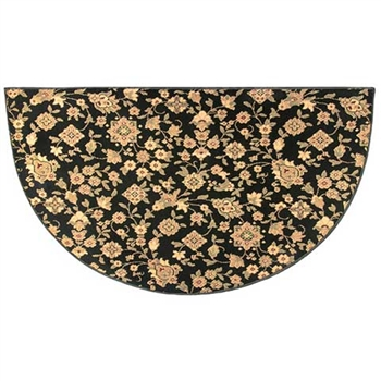Pictured is the 27 inch x 48 inch Half Round Garden Floral Hearth Rug in Black manufactured in America by Goods of the Woods.