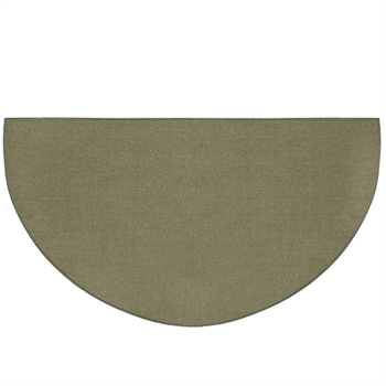 Pictured is the 27 inch x 48 inch Guardian Half Round Sage Green Fireplace Rug manufactured in America by Goods of the Woods.