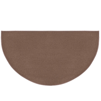 Pictured is the 27 inch x 48 inch 4 Foot Half Round Brown Hearth Rug manufactured in America by Goods of the Woods.