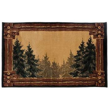Pictured is the 30 inch x 50 inch Rectangular Forest Trail II Hearth Rug manufactured in America by Goods of the Woods.