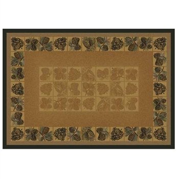 Pictured is the 30 inch x 50 inch Pine Cones II Rectangular Hearth Rug manufactured in America by Goods of the Woods.