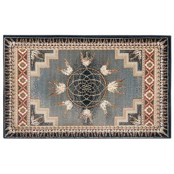 Pictured is the 30 inch x 50 inch Rectangular Native American Inspired Hearth Rug manufactured in America by Goods of the Woods.