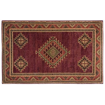 Pictured is the 30 inch x 50 inch Small Rectangular Red Adobe Hearth Rug manufactured in America by Goods of the Woods.