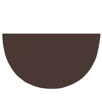 Pictured is the 36 inch x 72 inch Large Half Round Brown Polyester Hearth Rug manufactured in America by Goods of the Woods.