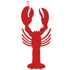 Wrought Iron Lobster Silhouette-RED