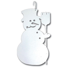 Wrought Iron Snowman Silhouette-WHITE
