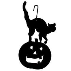 Wrought Iron Cat & Pumpkin Silhouette