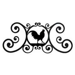 Wrought Iron Rooster Over Door Plaque