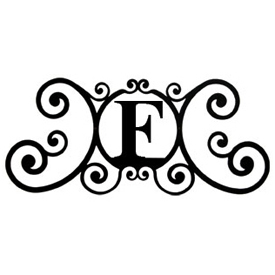 Wrought Iron House Plaque Let F
