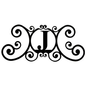 Wrought Iron House Plaque Let J