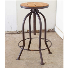 Pictured here is the Adjustable Industrial Rust Finish Bar Stool with Recycled Wood at Timeless Wrought Iron.