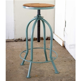 Pictured here is the Adjustable Industrial Blue Finish Bar Stool with Recycled Wood at Timeless Wrought Iron.