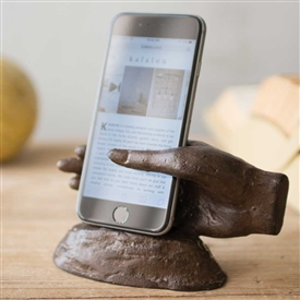 Pictured here is the Cast Iron Hand Smart Phone Stand at Timeless Wrought Iron.
