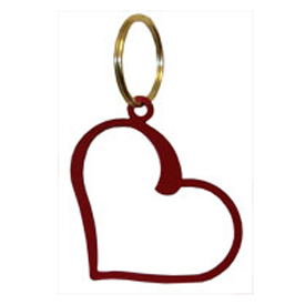 Wrought Iron Heart Key Chain - RED