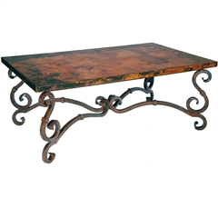 French Cocktail Table with Rectangle Copper Top