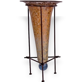Pictured here is the Gold Dust Cone Vase with Iron Stand from Couleur