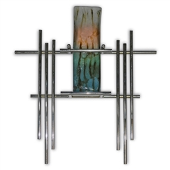 Pictured here is the Metro Chrome Wall Art with Glass Vase from Couleur