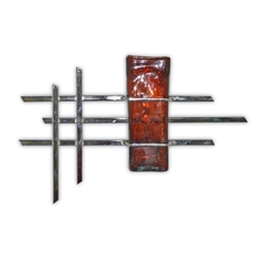 Pictured here is the Heavy Metal Chrome Wall Art with Glass Vase from Couleur