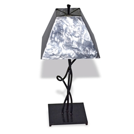 Pictured is our Rustic style Mystic Isle Table Lamp with Brushed Steel Shade hand-made by Mathews & Co.