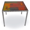 Pictured here is the Modernite Dining Table with Painted Metal Top hand crafted by skilled artisan blacksmiths.