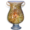 Pictured here is the Orange Passion Glass Urn with Handles and Glass Base from Mathews and Company