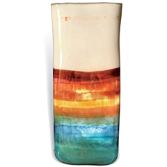 Pictured here is the Mango Tango Large Square Glass Vase from Mathews and Company