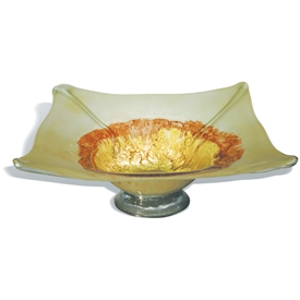 Pictured here is the Golden Rod Square Glass Bowl from Mathews and Company