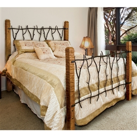 Pictured here is the South Fork Wrought Iron Bed hand forged by artisan blacksmiths.