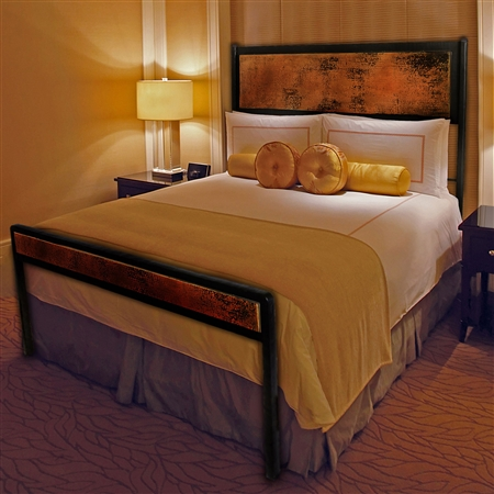 Pictured here is the Chanal Wrought Iron Bed with Copper hand forged by artisan blacksmiths.