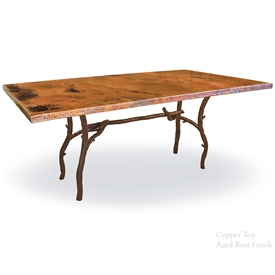 "Pictured here is the South Fork Dining Table with 44"" x 72"" Soft Oval Copper Top hand crafted by skilled artisan blacksmiths."