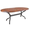 "Pictured here is the Woodland Dining Table with 44"" x 72"" Soft Oval Copper Top hand crafted by skilled artisan blacksmiths."