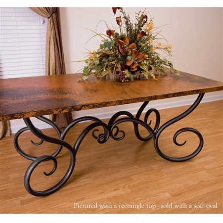 "Pictured here is the Milan Dining Table with 44"" x 72"" Soft Oval Copper Top hand crafted by skilled artisan blacksmiths."