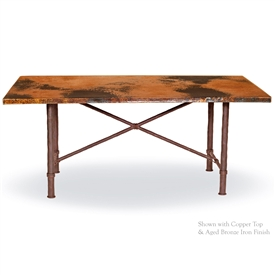 Pictured here is the Burlington Dining Table with 72x44 inch Oval Copper table top and solid wrought iron table base.