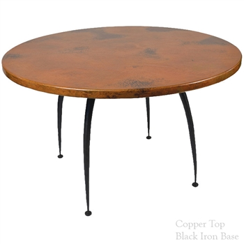 "Pictured here is the Pinnacle Dining Table with 48"" round table top, hand crafted by skilled artisan blacksmiths."