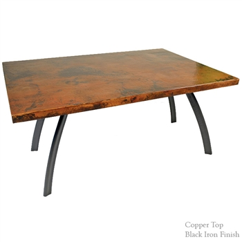 "Pictured here is the Chanal Dining Table with Soft Oval 72"" x 44"" Copper Top hand crafted by skilled artisan blacksmiths."