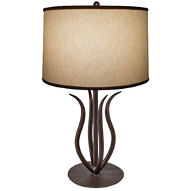 Pictured is our Traditional/Contemporary style wrought iron Milan Table Lamp hand-made by Mathews & Co.