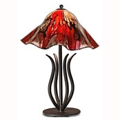 Pictured is our Traditional/Contemporary style wrought iron Milan Table Lamp with Large Glass Shade hand-made by Mathews & Co.